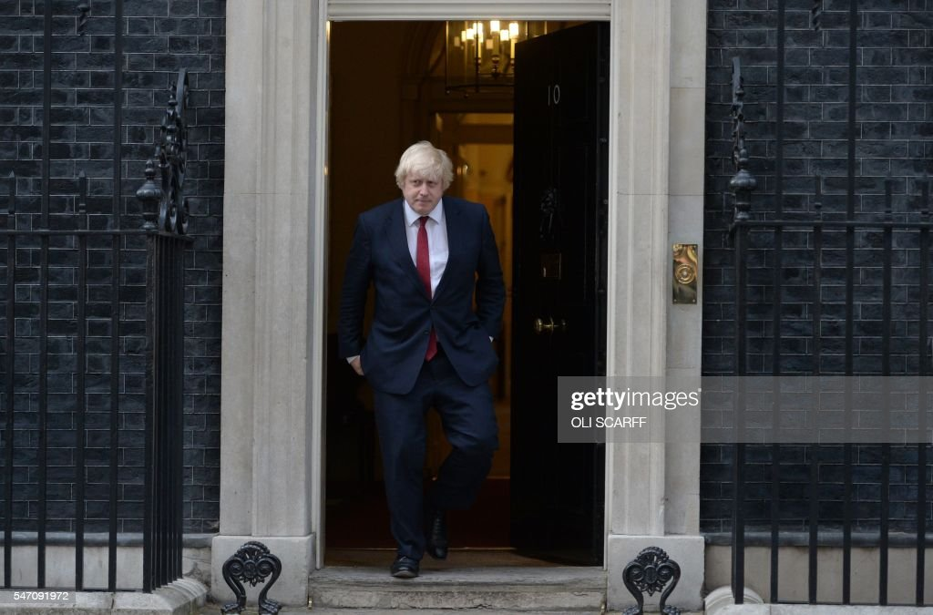 Newly appointed Foreign Secretary Boris Johnson leaves 10 Downing Street in central London on July 13 2016 after new British Prime Minister Theresa...