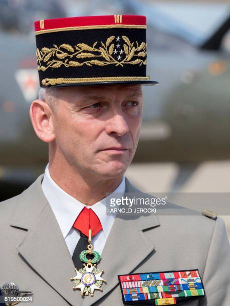 Newly appointed French chief of military staff General Francois Lecointre looks over during a visit to the French air force base BA 125 in Istres...