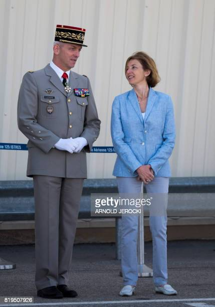 Newly appointed French chief of military staff General Francois Lecointre and French Defence Minister Florence Parly speak during a visit to the...