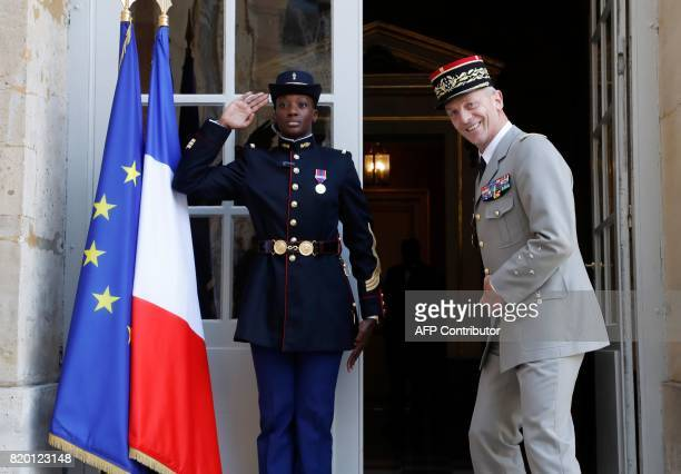 Newly appointed French chief of military staff General Francois Lecointre arrives for a luncheon with the prime minister and other heads of the...