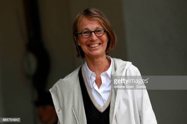 Newly appointed French Culture Minister Francoise Nyssen arrives at the Elysee presidential palace for the first weekly cabinet meeting on May 18...