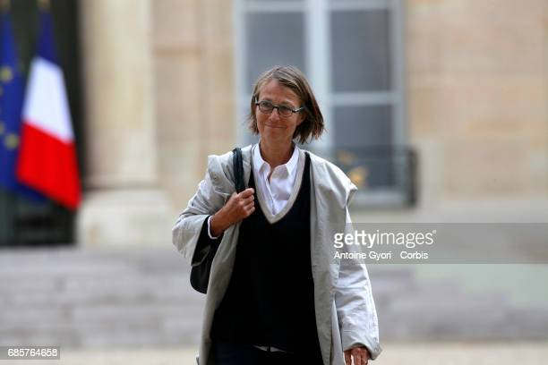 Newly appointed French Culture Minister Francoise Nyssen leaves the Elysee Presidential Palace after the first weekly cabinet meeting on May 18 2017...