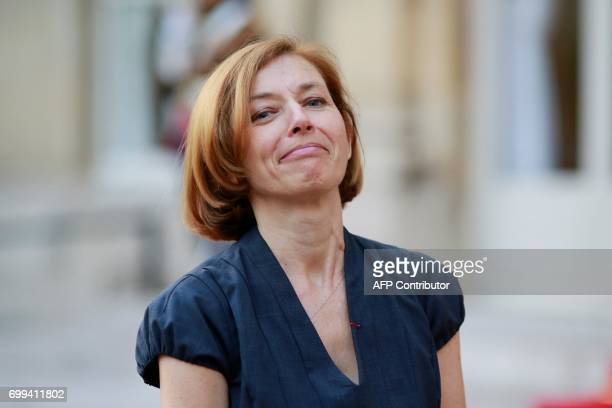 Newly appointed French Defence Minister Florence Parly looks on following the official handover ceremony at the Hotel de Brienne in Paris on June 21...