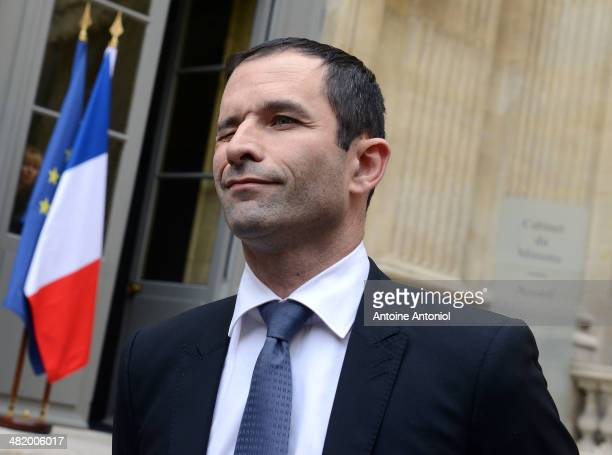 Newly appointed French Education Minister Benoit Hamon pauses after a ceremony at the Ministry of Education on April 2 2014 in Paris France France's...