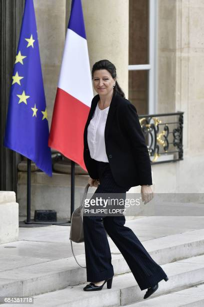 Newly appointed French Health and Solidarity Minister Agnes Buzyn arrives at the Elysee presidential palace in Paris on May 18 before the first...