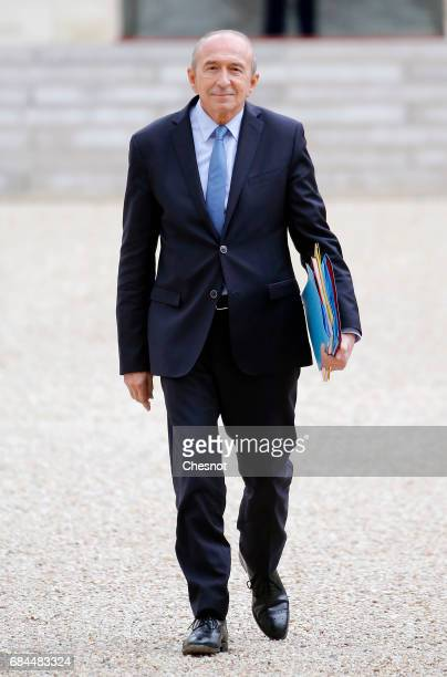 Newly appointed French Interior minister Gerard Collomb leaves the Elysee Presidential Palace after the first weekly cabinet meeting on May 18 2017...