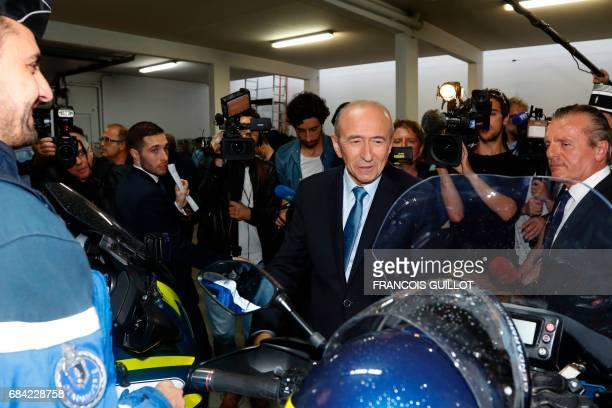 Newly appointed French Interior Minister Gerard Collomb visits the departmental gendarmerie in SaintGermainenLaye outside Paris on May 17 2017 / AFP...
