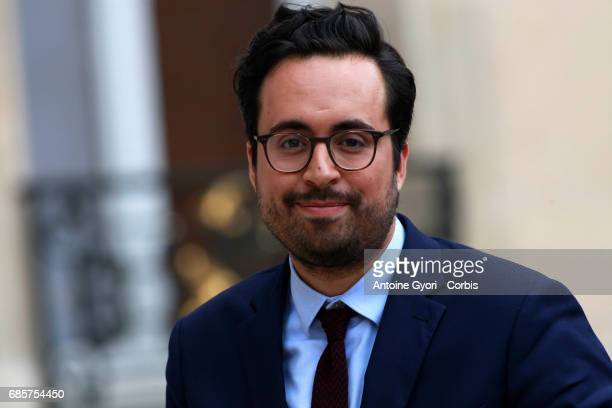 Newly appointed French Junior Minister in Charge of Digital Mounir Mahjoubi arrives at the Elysee presidential palace for the first weekly cabinet...