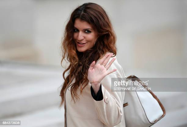 Newly appointed French Junior Minister in charge of Equality between men and women Marlene Schiappa arrives at the Elysee presidential palace in...