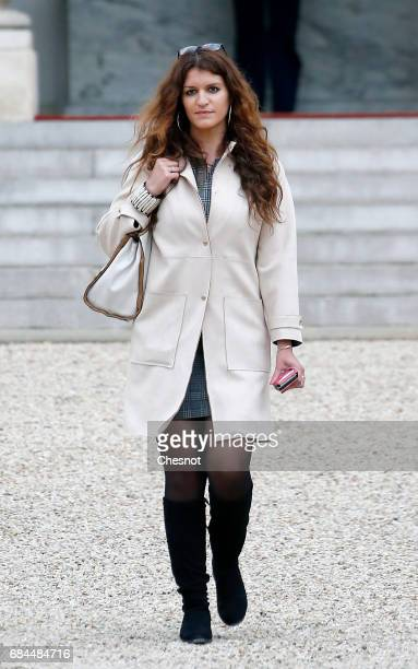 Newly appointed French Junior Minister in charge of Equality between men and women Marlene Schiappa leaves the Elysee Presidential Palace after the...