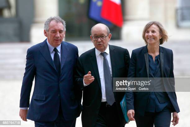 Newly appointed French Justice minister Francois Bayrou French Foreign Affairs Minister JeanYves Le Drian and French Minister for European Affairs...