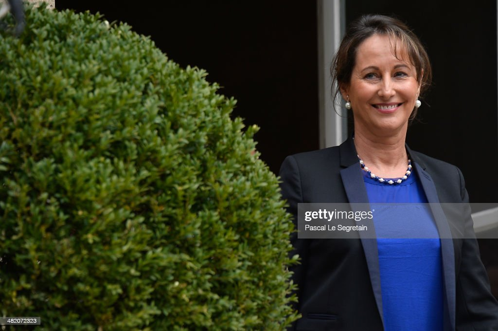 Newly appointed French Minister for the Ecology, Sustainable development and Energy, Segolene Royal attends a handover ceremony with outgoing French Minister <a gi-track='captionPersonalityLinkClicked' href=/galleries/search?phrase=Philippe+Martin+-+Politiker&family=editorial&specificpeople=12683642 ng-click='$event.stopPropagation()'>Philippe Martin</a> at the Ministry of Ecology on April 2, 2014 in Paris, France.