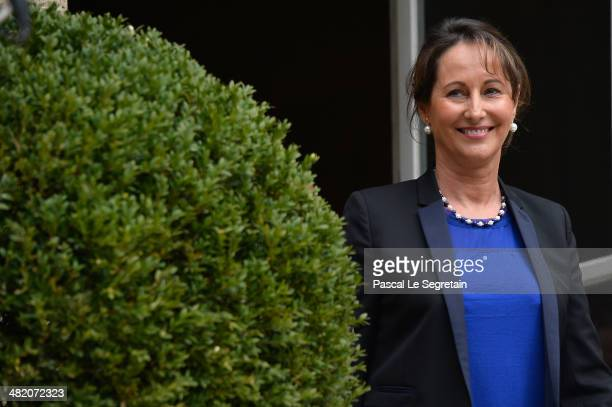 Newly appointed French Minister for the Ecology Sustainable development and Energy Segolene Royal attends a handover ceremony with outgoing French...