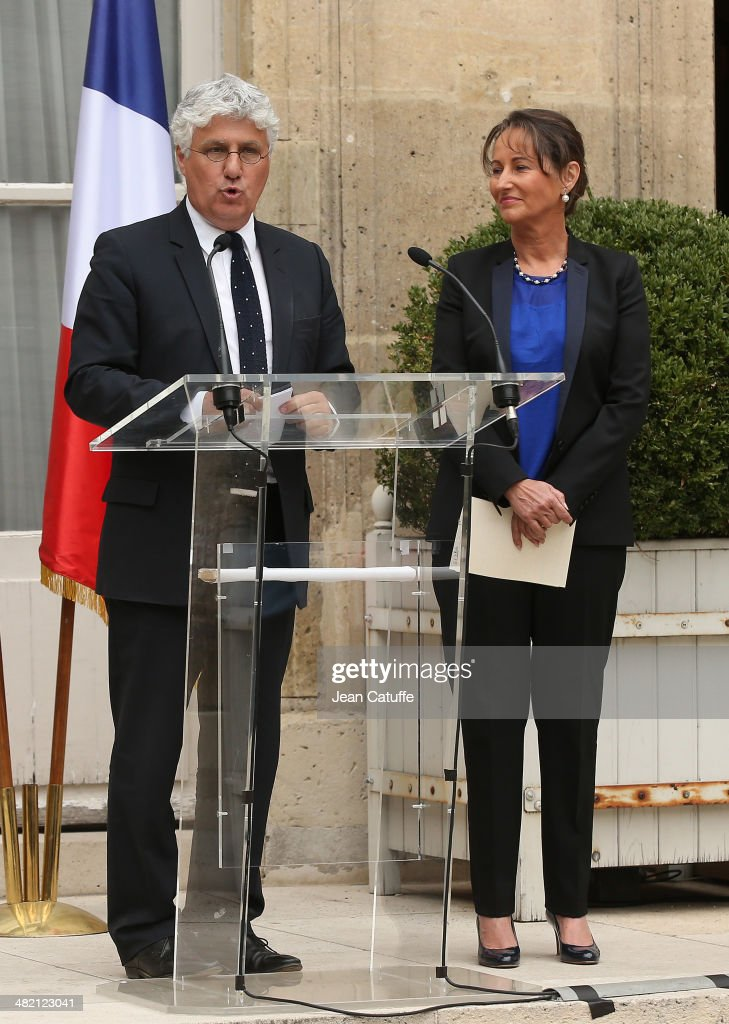 Newly appointed French Minister for the Ecology, Sustainable development and Energy, <a gi-track='captionPersonalityLinkClicked' href=/galleries/search?phrase=Segolene+Royal&family=editorial&specificpeople=546504 ng-click='$event.stopPropagation()'>Segolene Royal</a> is replacing outgoing French Minister for Ecology <a gi-track='captionPersonalityLinkClicked' href=/galleries/search?phrase=Philippe+Martin+-+Politiker&family=editorial&specificpeople=12683642 ng-click='$event.stopPropagation()'>Philippe Martin</a> during a brief ceremony at Ministry of Ecology on April 2, 2014 in Paris, France.