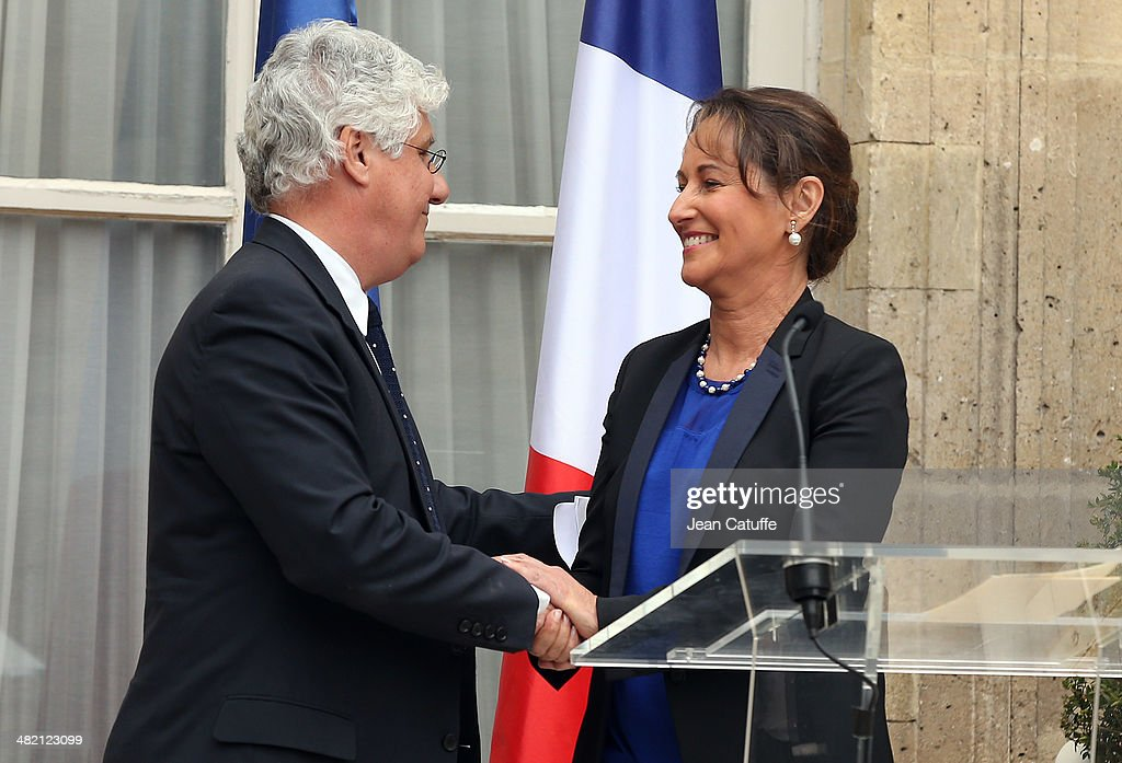 Newly appointed French Minister for the Ecology, Sustainable development and Energy, <a gi-track='captionPersonalityLinkClicked' href=/galleries/search?phrase=Segolene+Royal&family=editorial&specificpeople=546504 ng-click='$event.stopPropagation()'>Segolene Royal</a> is replacing outgoing French Minister for Ecology <a gi-track='captionPersonalityLinkClicked' href=/galleries/search?phrase=Philippe+Martin+-+Politician&family=editorial&specificpeople=12683642 ng-click='$event.stopPropagation()'>Philippe Martin</a> during a brief ceremony at Ministry of Ecology on April 2, 2014 in Paris, France.
