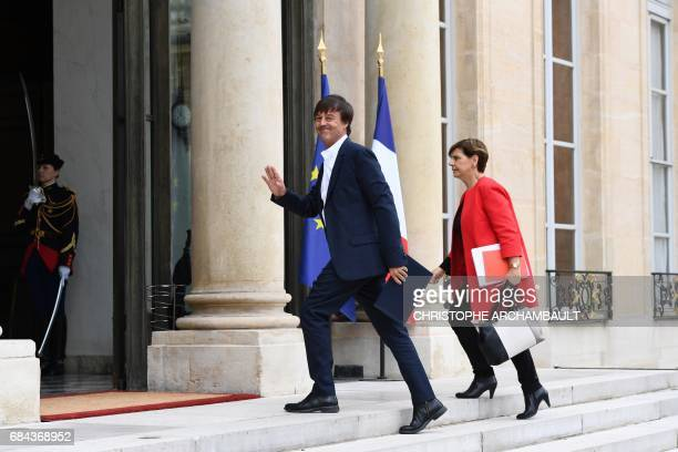 Newly appointed French Minister of the Ecological and Social Transition Nicolas Hulot arrives at the Elysee presidential palace in Paris on May 18...