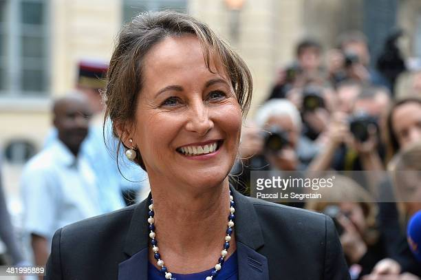 Newly appointed French Minister of the Ecology Sustainable development and Energy Segolene Royal attends the take over ceremony on April 2 2014 in...