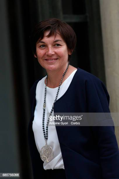Newly appointed French Overseas Minister Annick Girardin arrives at the Elysee presidential palace for the first weekly cabinet meeting on May 18...