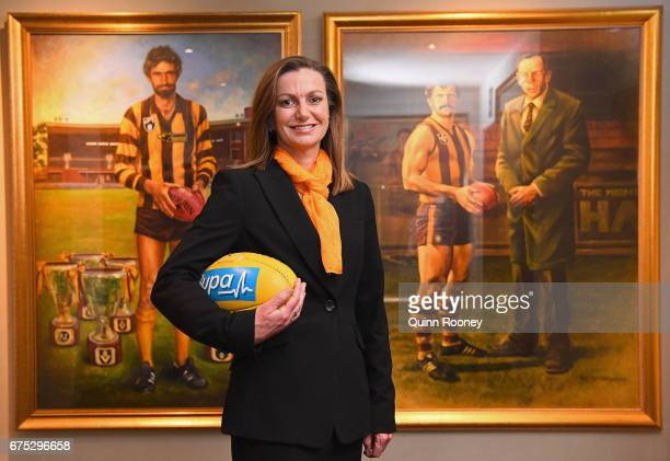 Newly appointed Hawthorn Chief Executive Officer Tracey Gaudry poses during a Hawthorn Hawks AFL media opportunity at Waverley Park on May 1 2017 in...