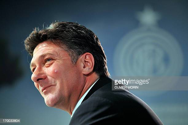 Newly appointed head coach of Inter Milan Walter Mazzarri takes part in a press conference on June 6 2013 at their training center in Appiano Gentile...