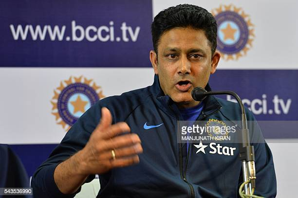 Newly appointed head coach of the Indian cricket team Anil Kumble addresses a press conference at the Karnataka State Cricket Association in...