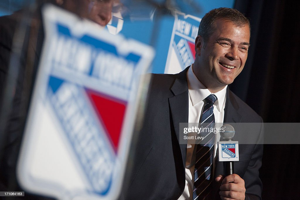 Newly appointed head coach of the New York Rangers <a gi-track='captionPersonalityLinkClicked' href=/galleries/search?phrase=Alain+Vigneault&family=editorial&specificpeople=4146583 ng-click='$event.stopPropagation()'>Alain Vigneault</a> speaks at a press conference at Radio City Music Hall on June 21, 2013 in New York City.
