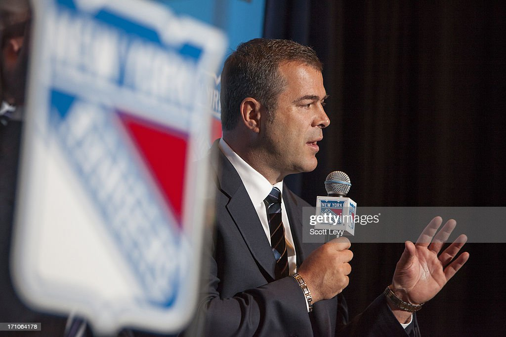 Newly appointed head coach of the New York Rangers, <a gi-track='captionPersonalityLinkClicked' href=/galleries/search?phrase=Alain+Vigneault&family=editorial&specificpeople=4146583 ng-click='$event.stopPropagation()'>Alain Vigneault</a>, speaks at a press conference at Radio City Music Hall on June 21, 2013 in New York City.