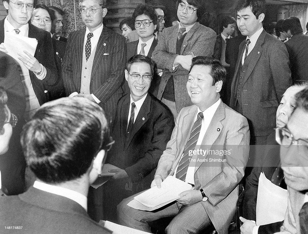 Newly Appointed Home Affair Minister <a gi-track='captionPersonalityLinkClicked' href=/galleries/search?phrase=Ichiro+Ozawa&family=editorial&specificpeople=680192 ng-click='$event.stopPropagation()'>Ichiro Ozawa</a> smiles during being received lectures from the cabinet staffs at Prime Minister Yasuhiro Nakasone (not pictured) Official Residence on December 28, 1985 in Tokyo, Japan.