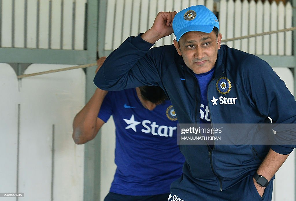 Newly appointed Indian cricket team head coach, Anil Kumble arrives at the National Cricket Academy (NCA) where the Indian cricket team is taking part in a preparatory camp before their West Indies tour, in Bangalore on June 29, 2016. / AFP / Manjunath Kiran