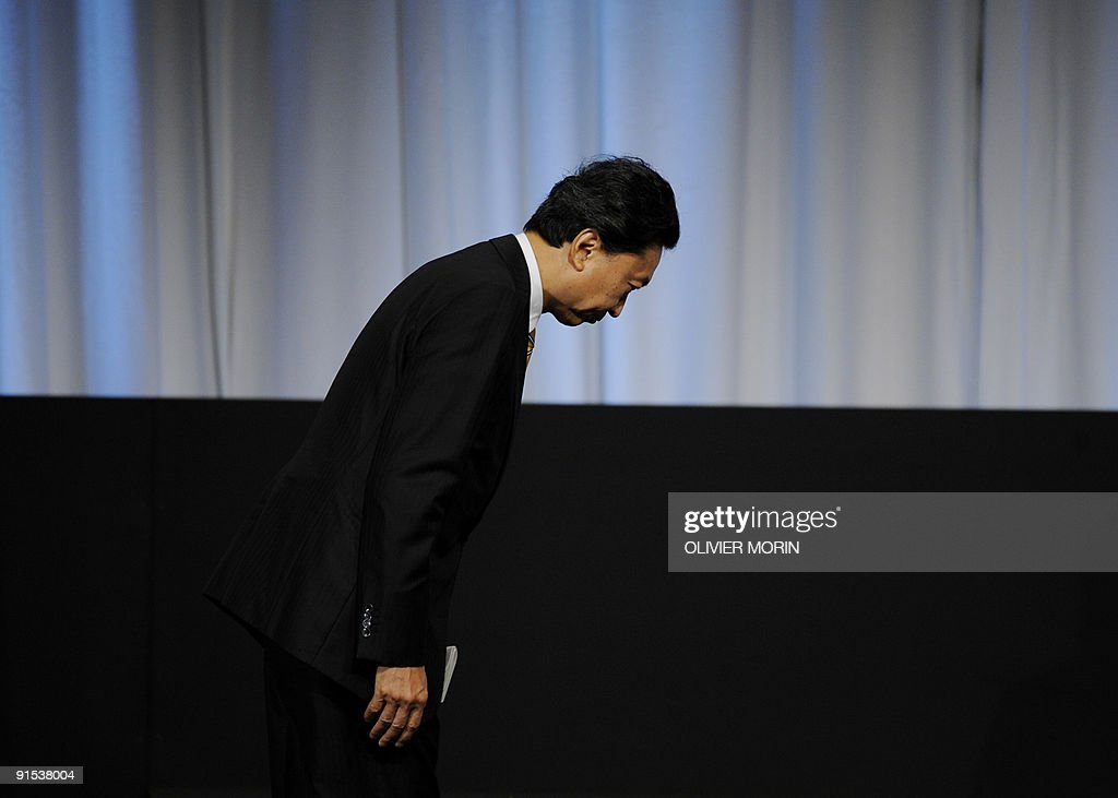Newly appointed Japanese Prime Minister Yukio Hatoyama bows as he presents Tokyo's bid for the 2016 Olympics, on October 2, 2009 in Copenhagen. The International Olympic Committee (IOC) will vote on the destiny of the 2016 Summer Olympic Games after a final round battle.