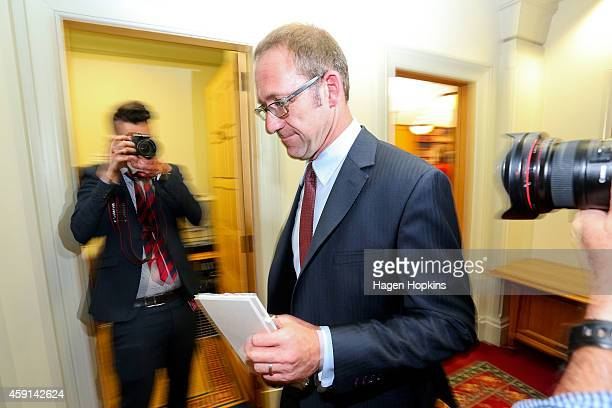 Newly appointed Labour leader Andrew Little exits a press conference at Parliament House on November 18 2014 in Wellington New Zealand The 2014 New...