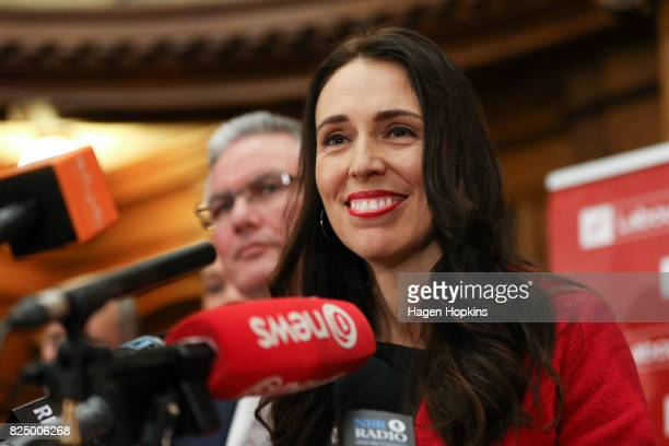 Newly appointed Labour leader Jacinda Ardern speaks to media during a presss conference at Parliament on August 1 2017 in Wellington New Zealand...