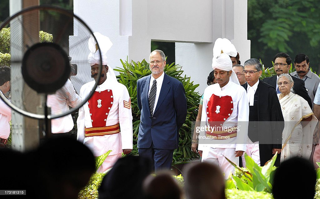 Newly appointed Lieutenant Governor of Delhi, Najeeb Jung, arrives at ceremony hall before taking oath at Raj Bhawan on July 9, 2013 in New Delhi, India. 62-year-old Jung has become the 19th Lt Governor of Delhi. A 1973-batch IAS officer, Jung served in Madhya Pradesh government and at several key positions including as joint secretary in the ministry of Petroleum and Natural gas in Central government.