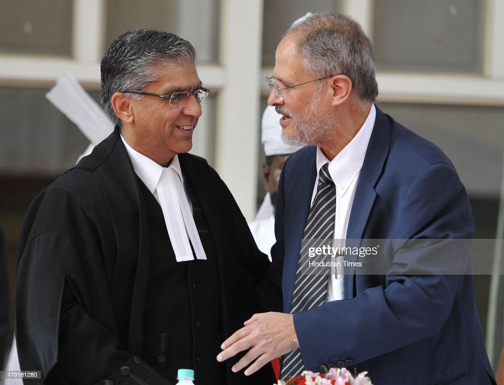 Newly appointed Lieutenant Governor of Delhi, Najeeb Jung, with Chief Justice of the Delhi High Court Justice Badar Durrez Ahmed after taking oath at a cereomy at Raj Bhawan on July 9, 2013 in New Delhi, India. 62-year-old Jung has become the 19th Lt Governor of Delhi. A 1973-batch IAS officer, Jung served in Madhya Pradesh government and at several key positions including as joint secretary in the ministry of Petroleum and Natural gas in Central government.