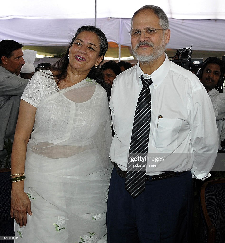 Newly appointed Lieutenant Governor of Delhi, Najeeb Jung with his wife Ameena Jung after taking oath of Lieutenant governor of Delhi at Raj Bhawan on July 9, 2013 in New Delhi, India. 62-year-old Jung has become the 19th Lt Governor of Delhi. A 1973-batch IAS officer, Jung served in Madhya Pradesh government and at several key positions including as joint secretary in the ministry of Petroleum and Natural gas in Central government.
