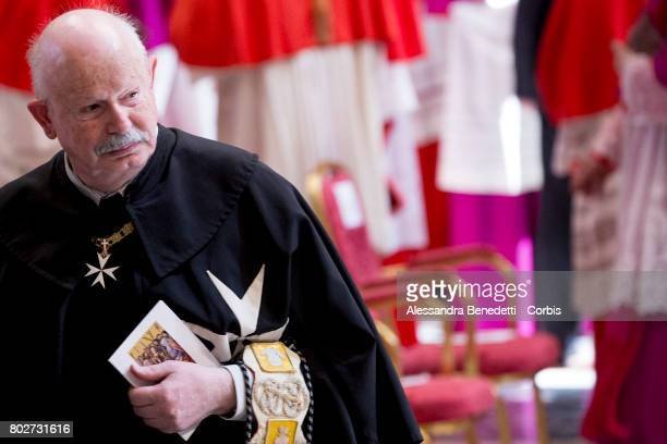 Newly appointed Lieutenant of Grand Master of The Sovereign Military Order Of Malta Fra Giacomo Dalla Torre del Tempio di Sanguinetto attends a...