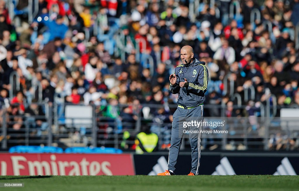 Newly appointed manager of Real Madrid Zinedine Zidane looks on during a Real Madrid training session at Valdebebas training ground on January 5, 2016 in Madrid, Spain.