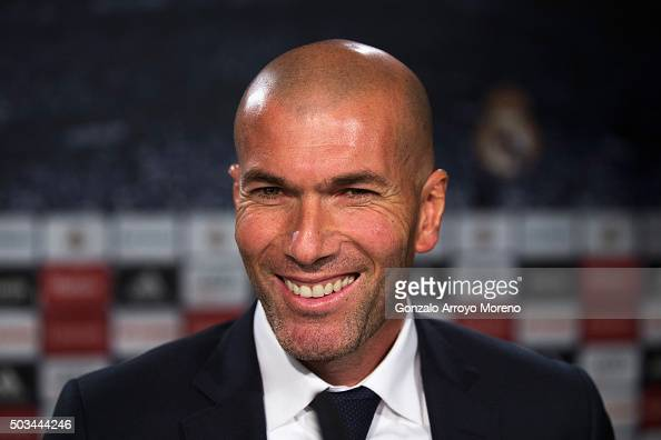 Newly appointed manager of Real Madrid Zinedine Zidane smiles during a Real Madrid press conference at Valdebebas training ground on January 5 2016...
