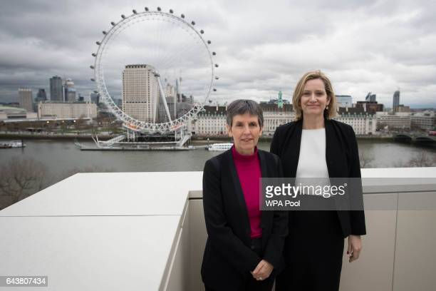 Newly appointed Metropolitan Police commissioner Cressida Dick and Home Secretary Amber Rudd pose for a photo at New Scotland Yard after Ms Dick...