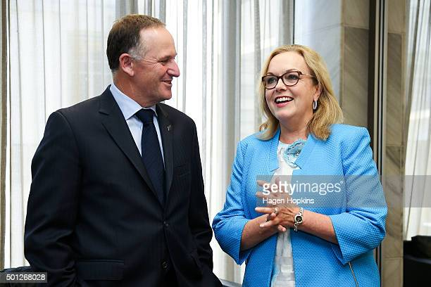 Newly appointed Minister of Corrections Judith Collins speaks to Prime Minister John Key during a ceremony for the appointment of a new Minister and...