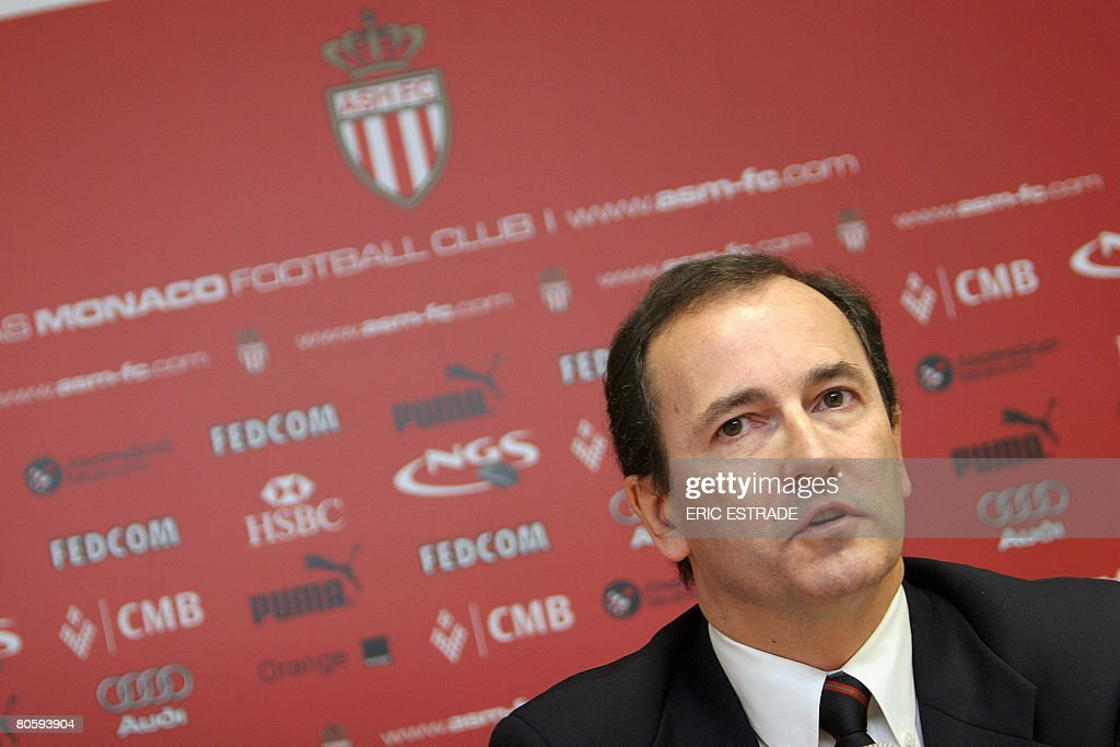 Newly appointed Monaco football club chairman American businessman Jerome de Bontin gives a press conference on April 10 2008 in Monaco one day after...