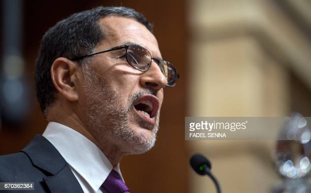 Newly appointed Moroccan Prime Minister SaadEddine El Othmani delivers a speech at the Parliament in Rabbat on April 19 2017 during as he presents...