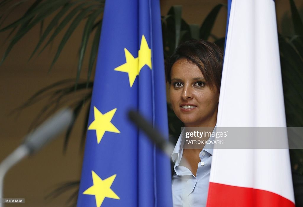 Newly appointed National Education minister Najat Vallaud-Belkacem poses during a handover ceremony on August 27, 2014 in Paris.