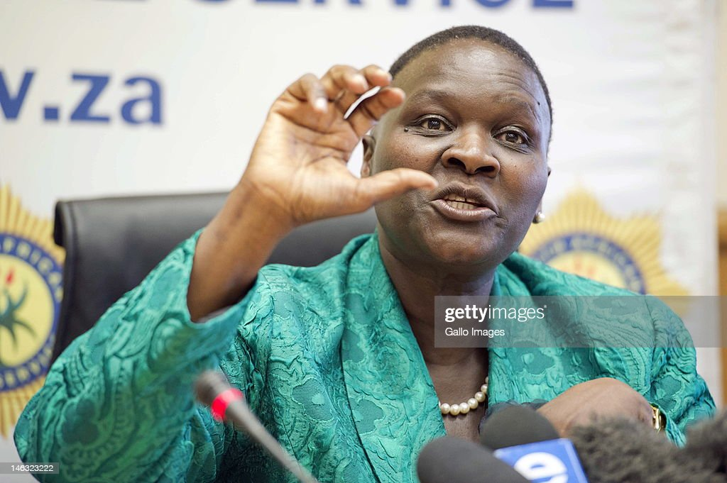 Newly appointed national police commissioner Victoria Mangwashi Phiyega speaks during a press conference on June 14, 2012 in Pretoria, South Africa.