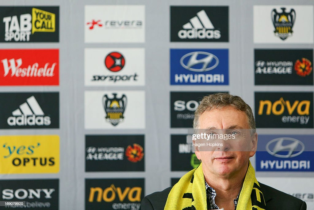 Newly appointed Phoenix coach Ernie Merrick speaks to media during a Wellington Phoenix A-league press conference at Westpac Stadium on May 20, 2013 in Wellington, New Zealand.