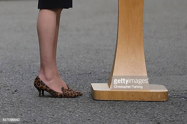 Newly appointed Prime Minister Theresa May shoe detail speaks at 10 Downing Street on July 13 2016 in London England Former Home Secretary Theresa...