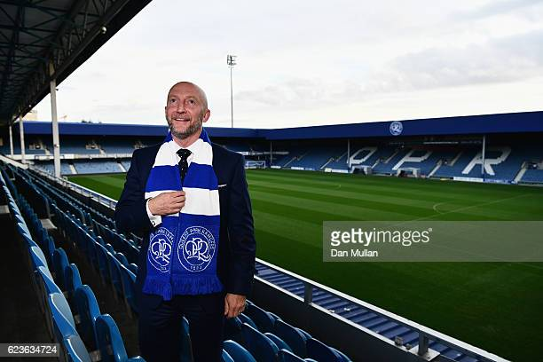 Newly appointed Queens Park Rangers manager Ian Holloway poses at Loftus Road on November 16 2016 in London England