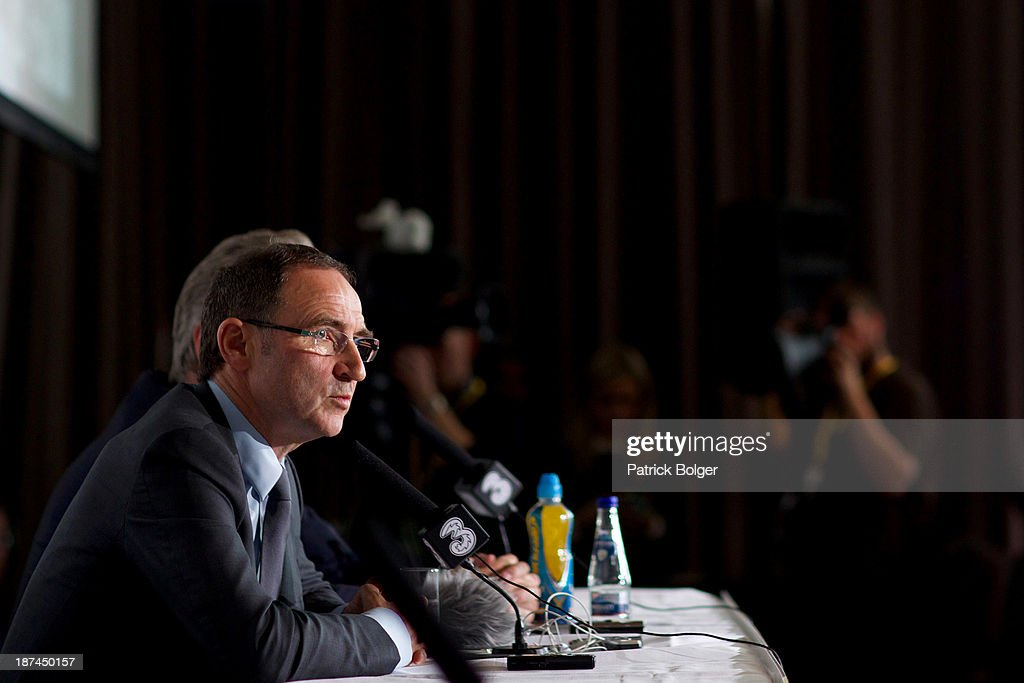 Newly appointed Republic of Ireland manager Martin O'Neill speaks during a press conference at Gibson Hotel on November 09, 2013 in Dublin, Ireland.