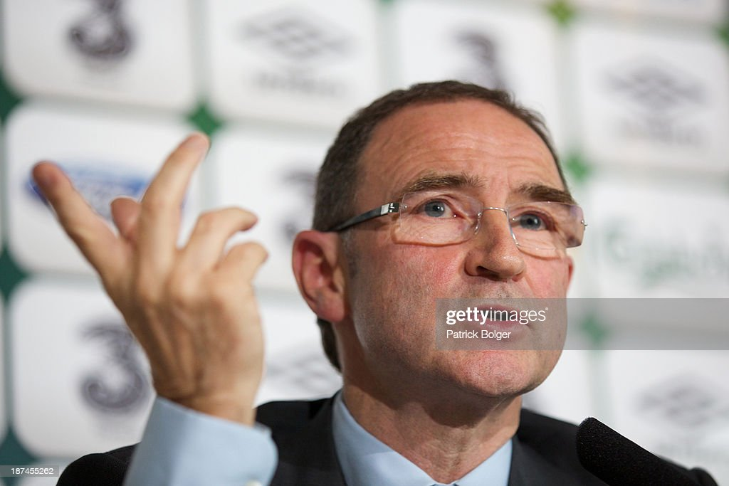 Newly appointed Republic of Ireland manager <a gi-track='captionPersonalityLinkClicked' href=/galleries/search?phrase=Martin+O%27Neill&family=editorial&specificpeople=201190 ng-click='$event.stopPropagation()'>Martin O'Neill</a> speaks during a press conference at Gibson Hotel on November 09, 2013 in Dublin, Ireland.