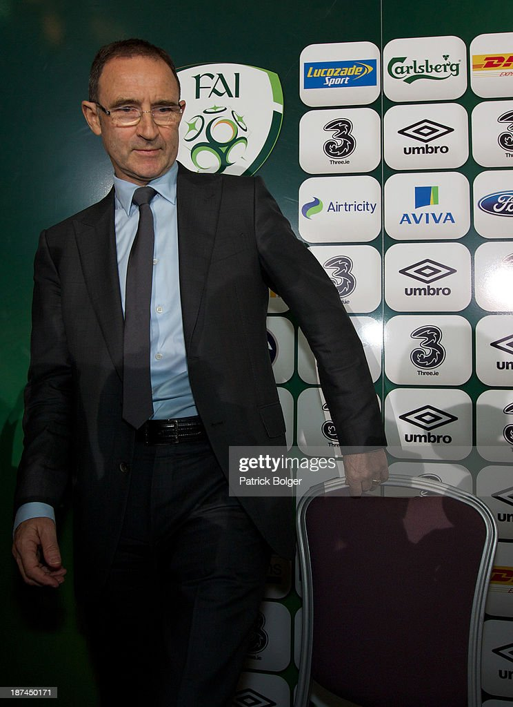 Newly appointed Republic of Ireland manager Martin O'Neill takes his seat for a press conference at Gibson Hotel on November 09, 2013 in Dublin, Ireland.